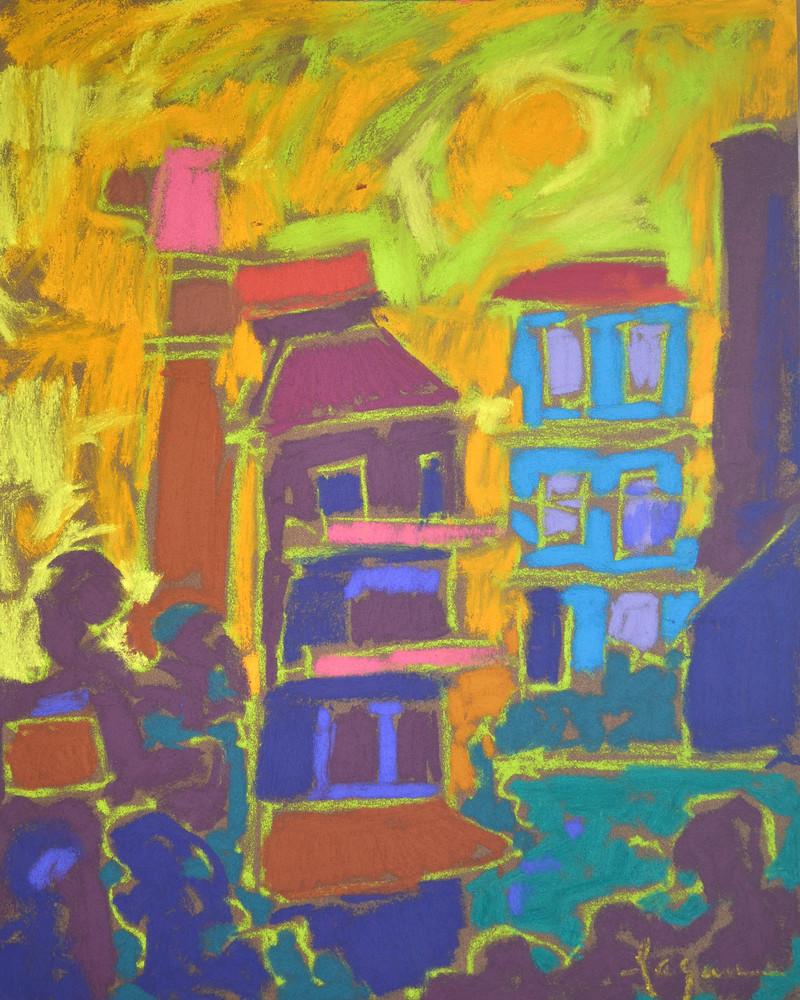Small Cinque Terre Art Print, Pastel by Dorothy Fagan