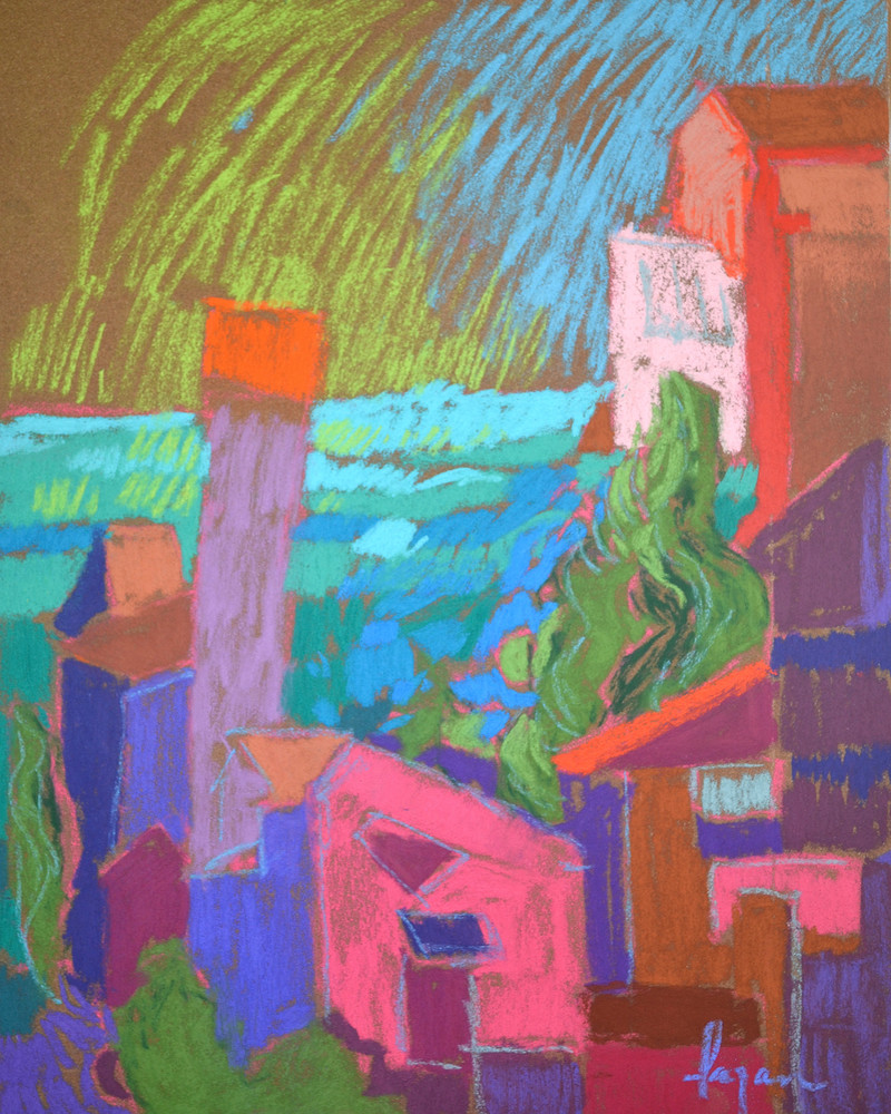 Cinque Terre Art Print, My Pink House in the Garden by Dorothy Fagan