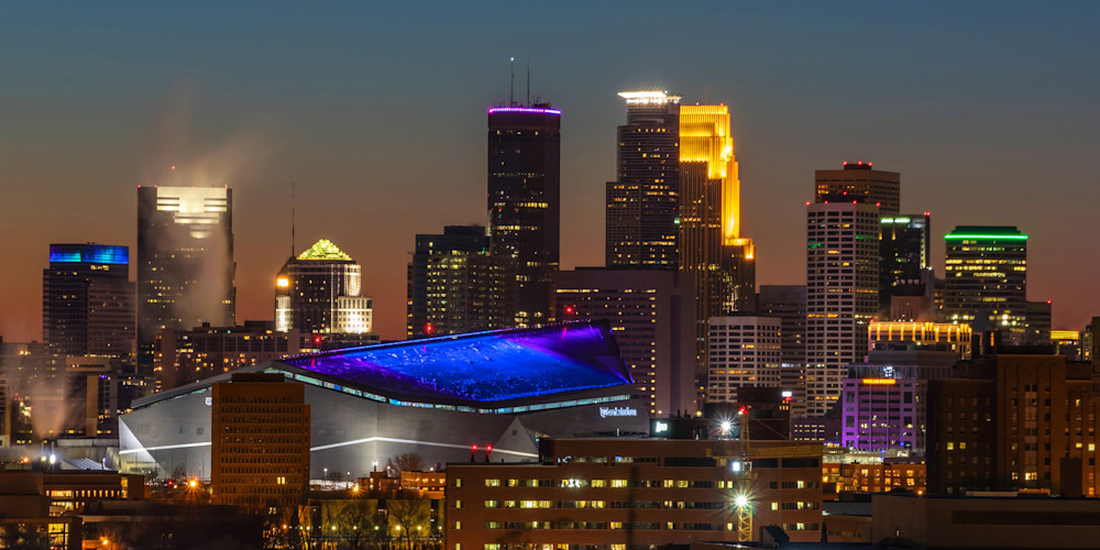 Super Bowl Minneapolis Sunset - Minneapolis Art | William Drew