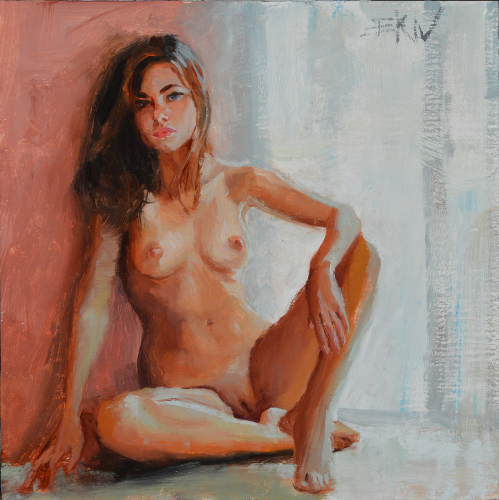 """Giclee print of a nude by Eric Wallis titled, """"Seated."""""""