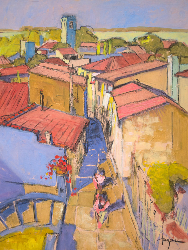 French Street Scene Art Print Painting, Soul Sisters Chase by Dorothy Fagan