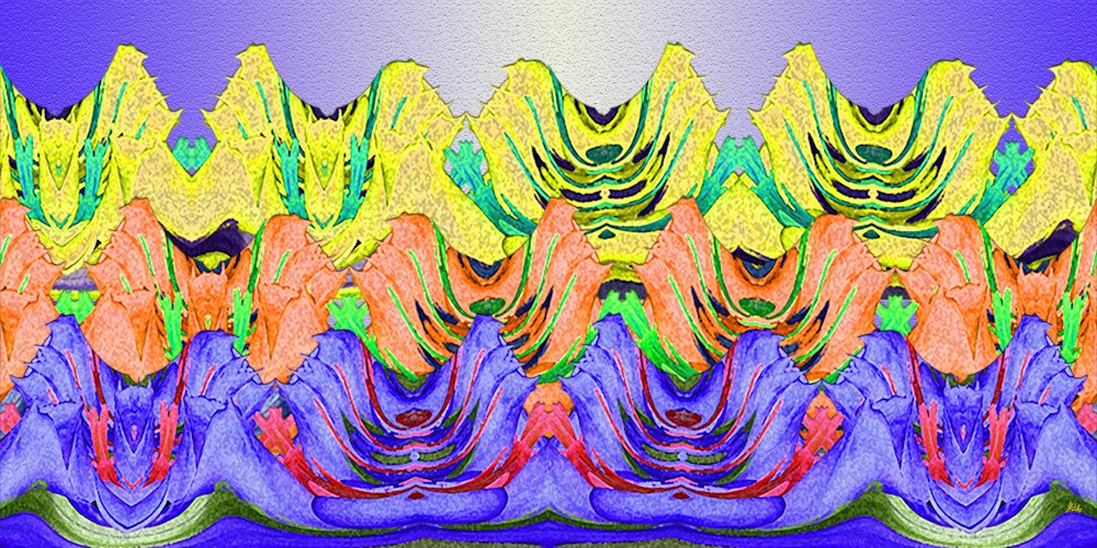 Gentian Waves No. 1 print of photographs of Rosy Paintbrush and Mountain Gentian swirled into abstract digital art by Maureen Wilks