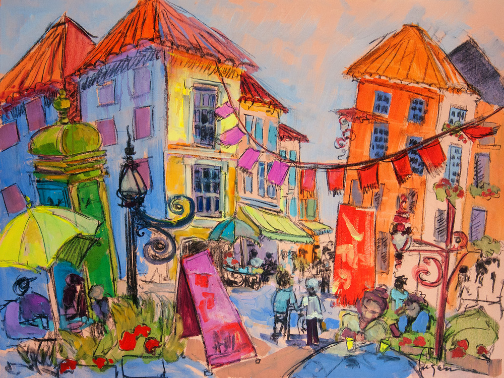 Colorful Contemporary Abstract Street Scene, Art Print on Canvas, Holiday by Dorothy Fagan