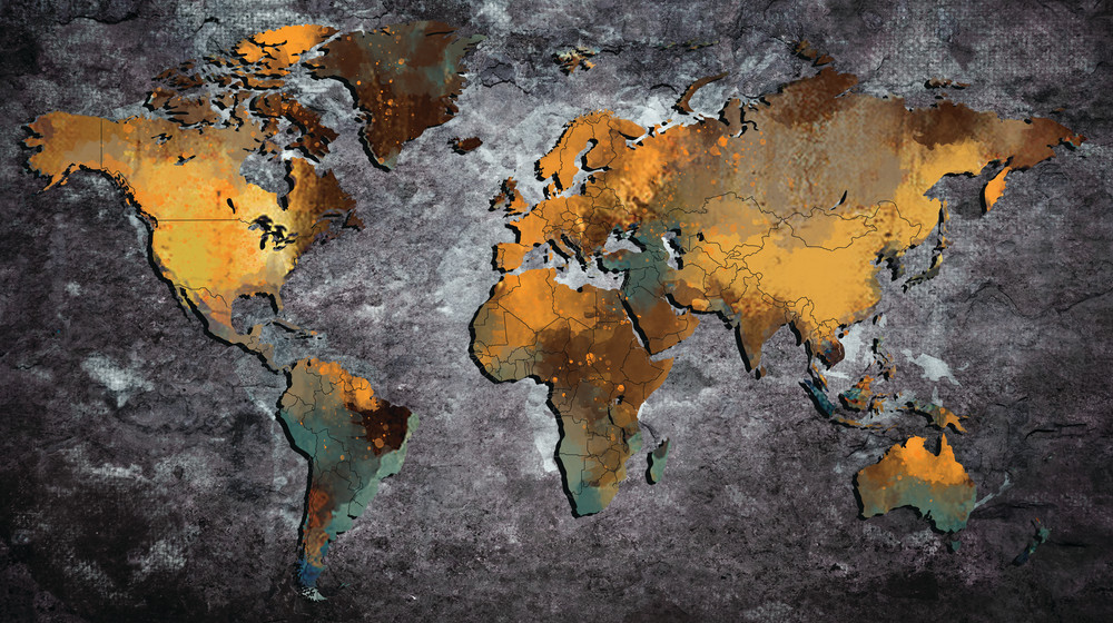 World Map Gold and Black