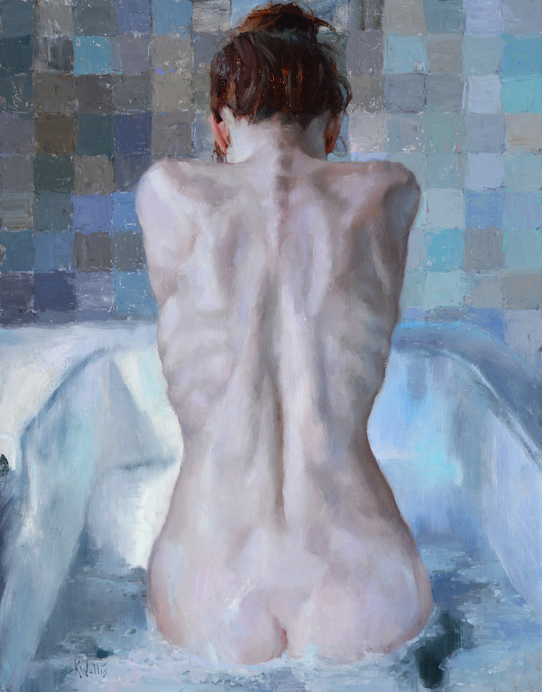 "Print of a nude painting by Eric Wallis titled, ""Bather."""