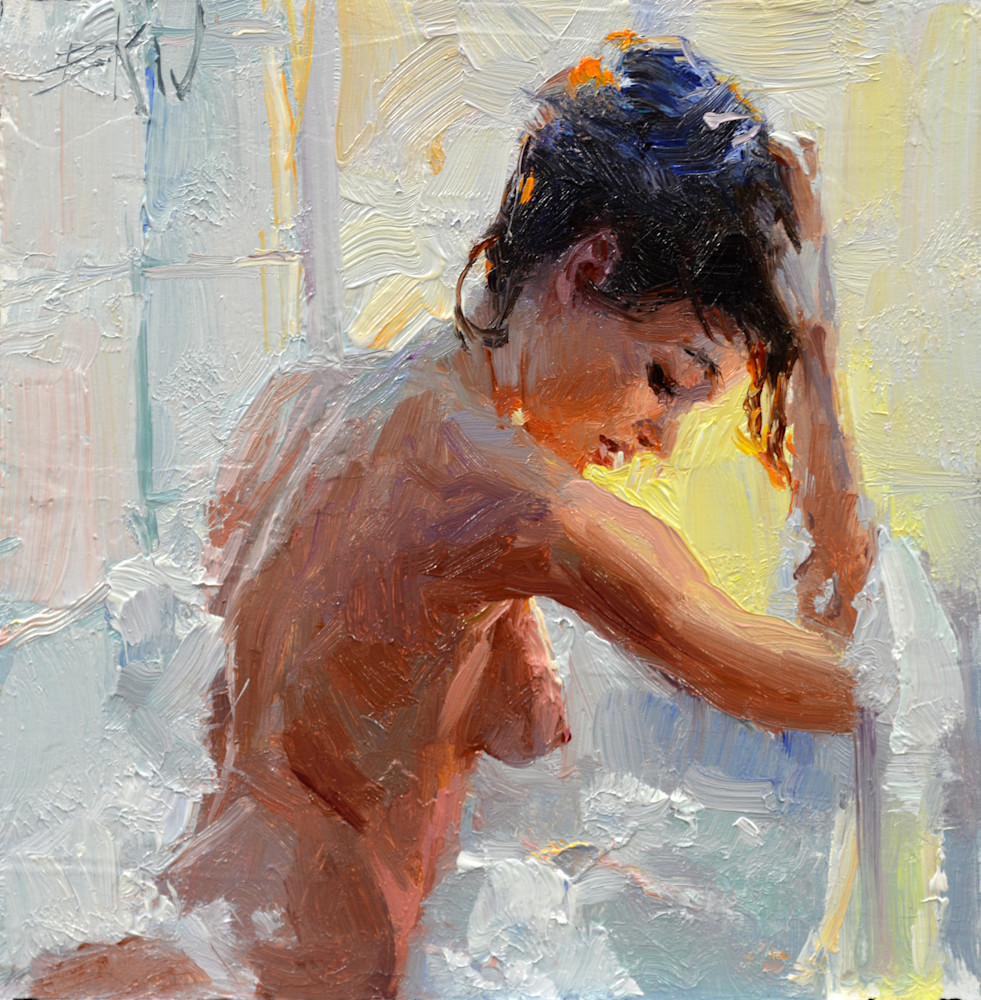 "Print of a nude painting by Eric Wallis titled, ""Bubble Bath."""