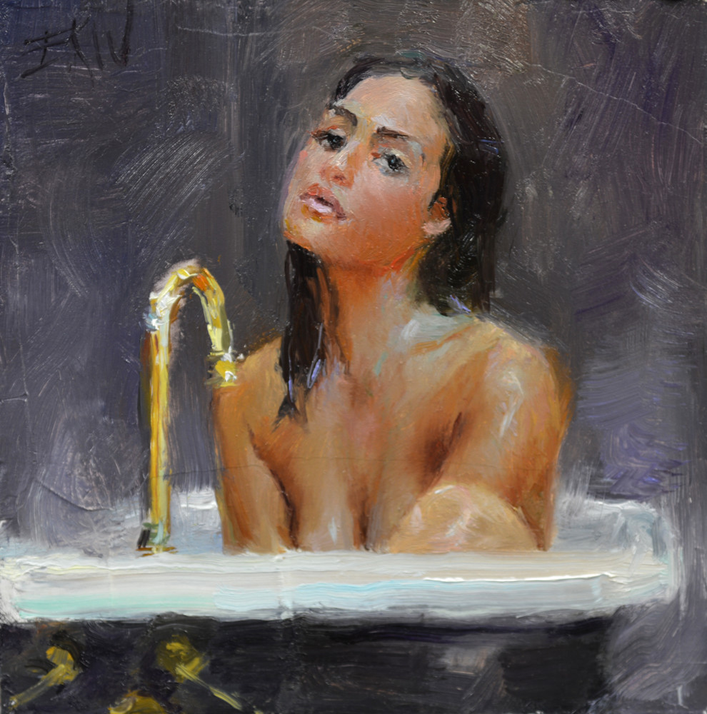 "Print of a nude painting by Eric Wallis titled, ""Steam Bath."""