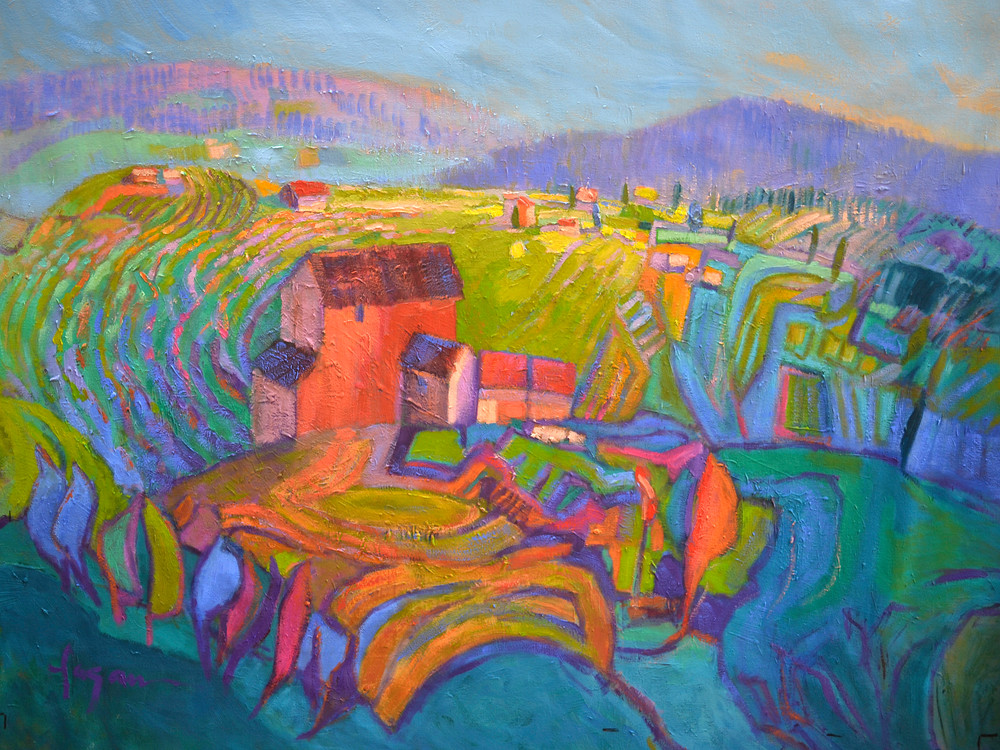 Colorful Abstract Mountain Landscape Art Print on Canvas or Watercolor Paper, Joy's Garden by Dorothy Fagan