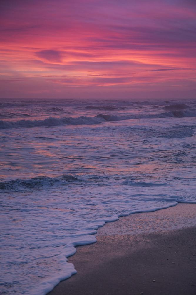 White Seafoam at Sunrise on the Beach