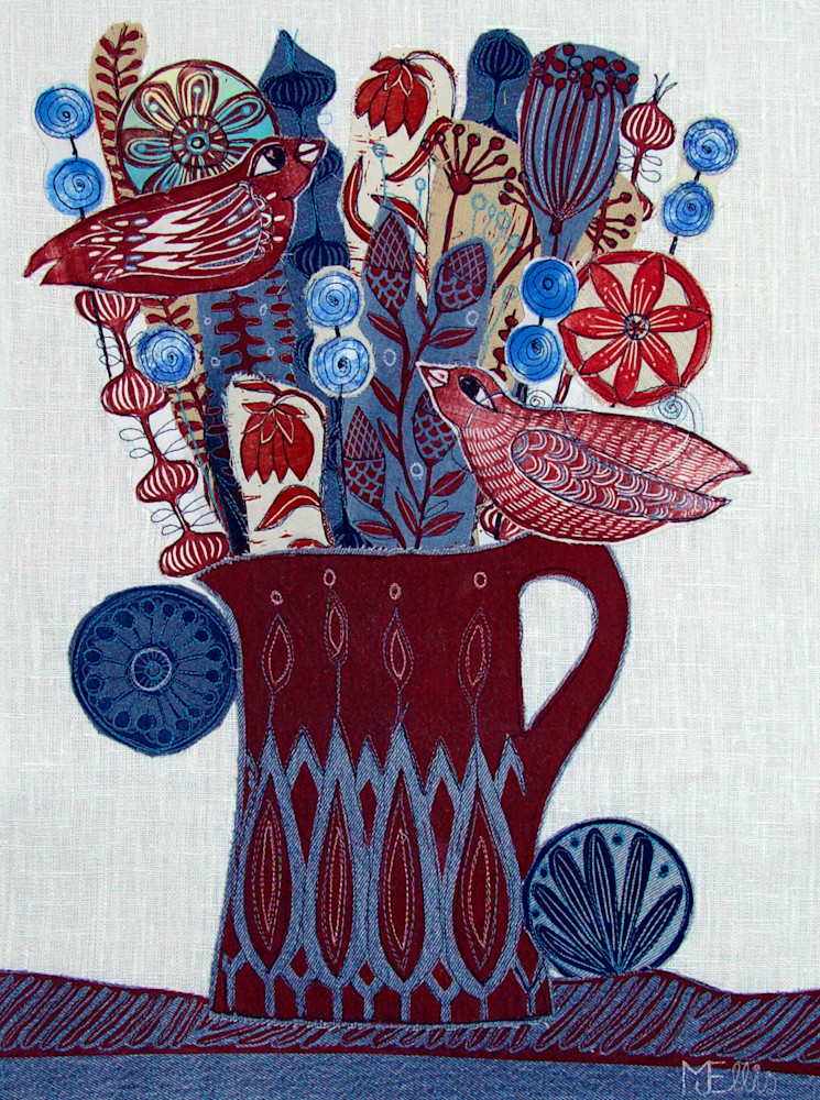 Reproduction of linocut collage - Red Birds