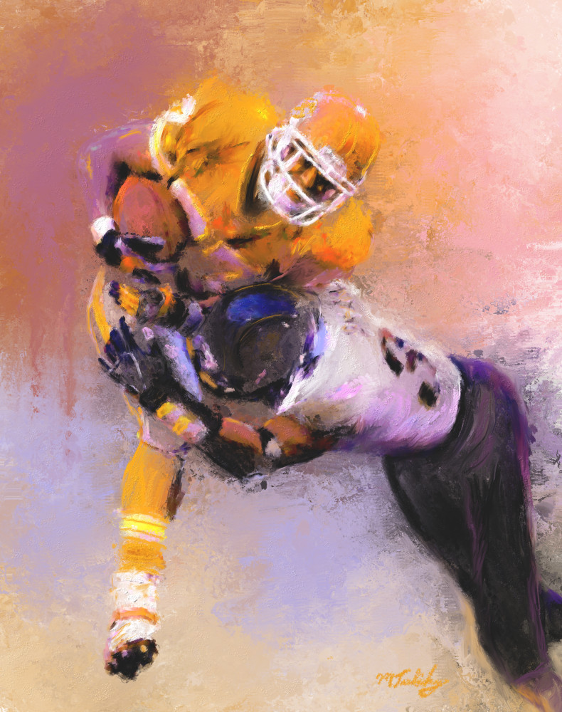 Football paintings and art prints of airborne tackling action