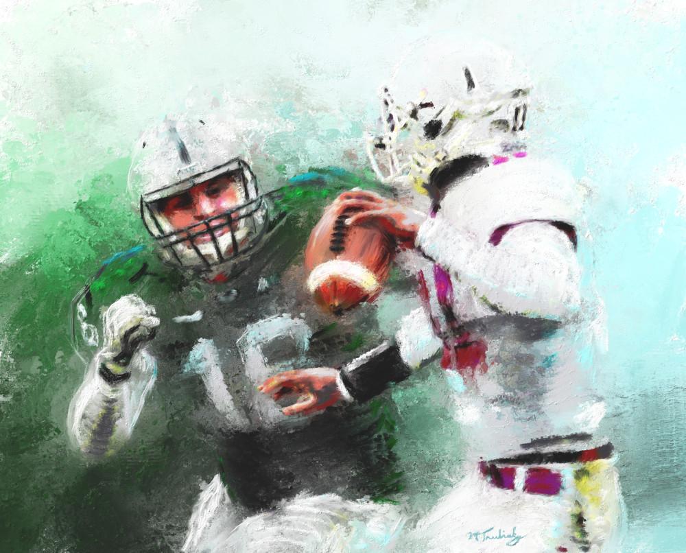 Quarterback in peril Football painting | Sports Artist Mark Trubisky | Custom Sports Art