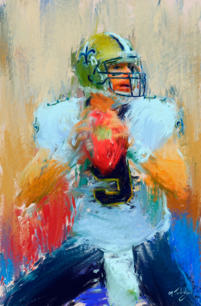 Drew Brees painting | Sports artist Mark Trubisky | Custom Sports Art