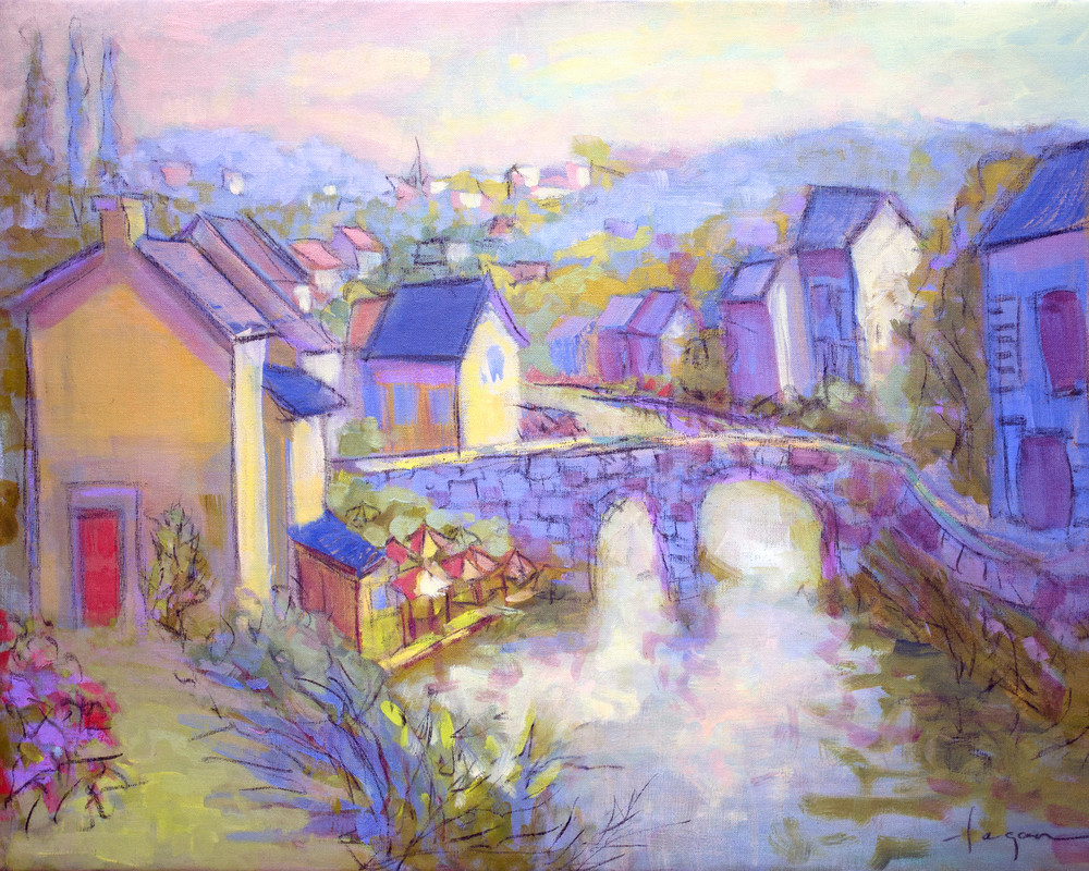 French Street Scene with Bridge Art Prints Paintings on Canvas, Bridge in Time by Dorothy Fagan