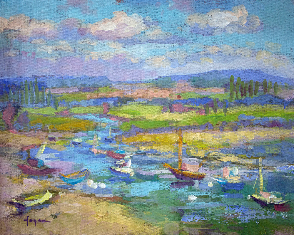 French Landscape Art Print on Canvas Le Port St Jean by Dorothy Fagan