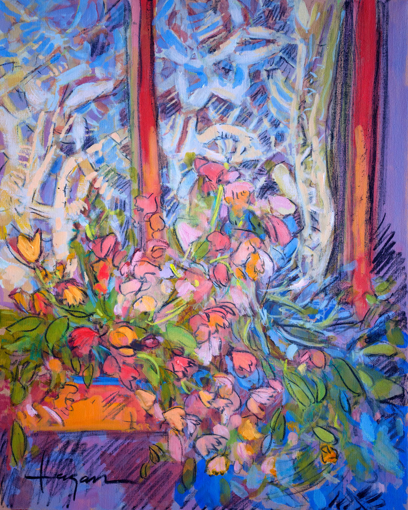 French Window Flowers Art Print Painting by Dorothy Fagan