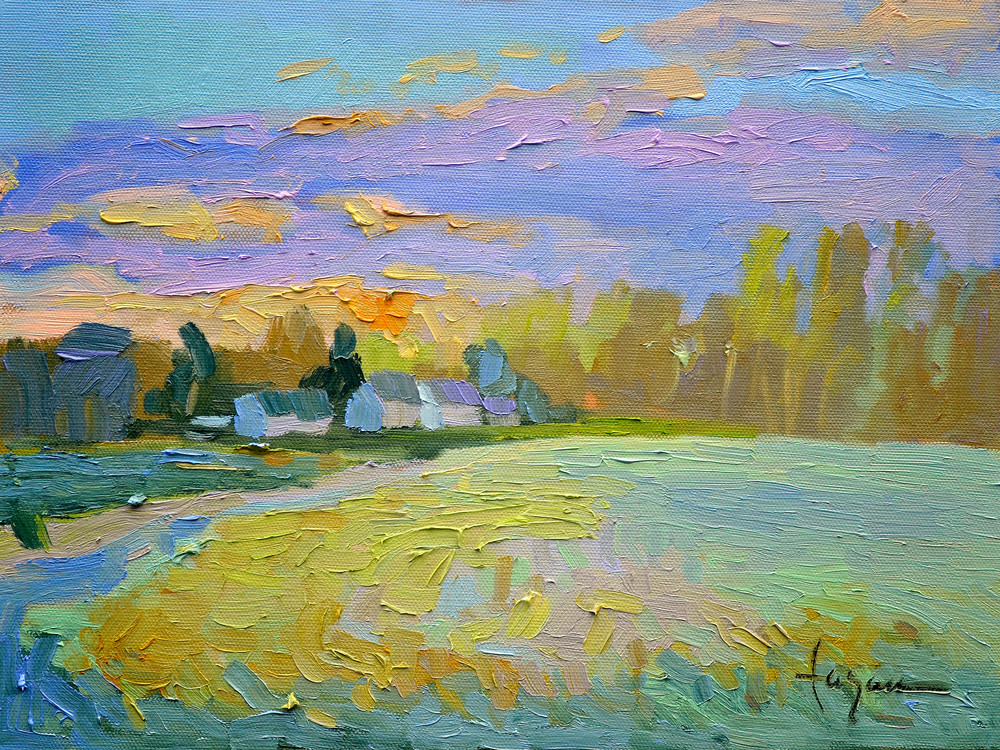 Tranquil Sunset Painting, Art Print on Canvas, April Sunset  by Dorothy Fagan