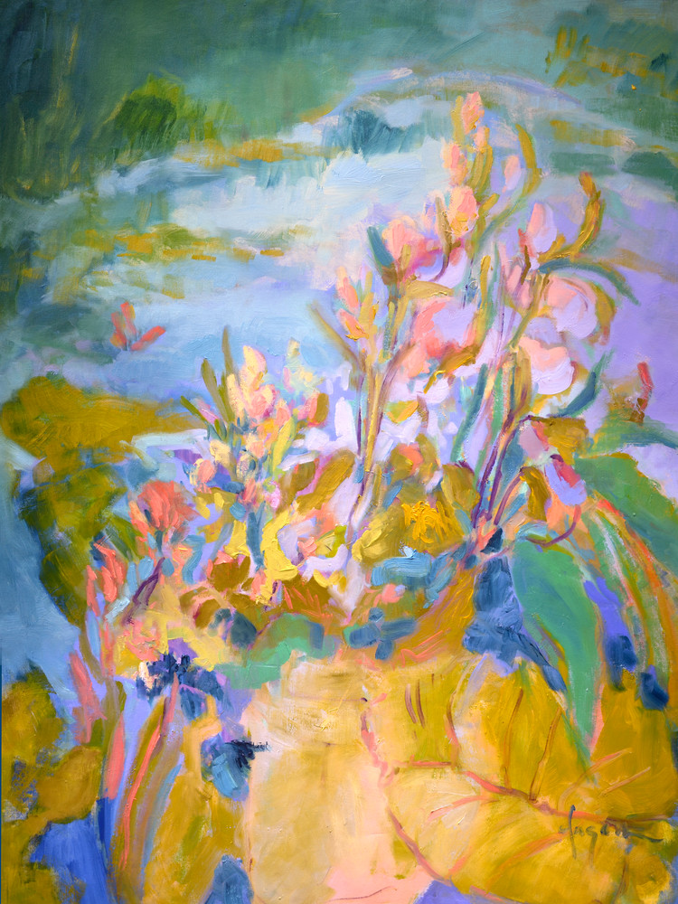 Abstract Water Lilies Painting, Art Print on Canvas or Watercolor Paper, A Pond of My Own by Dorothy Fagan
