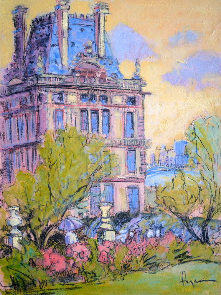 Tuileries Garden Painting Louvre Art Print on Canvas, Queens Garden by Dorothy Fagan