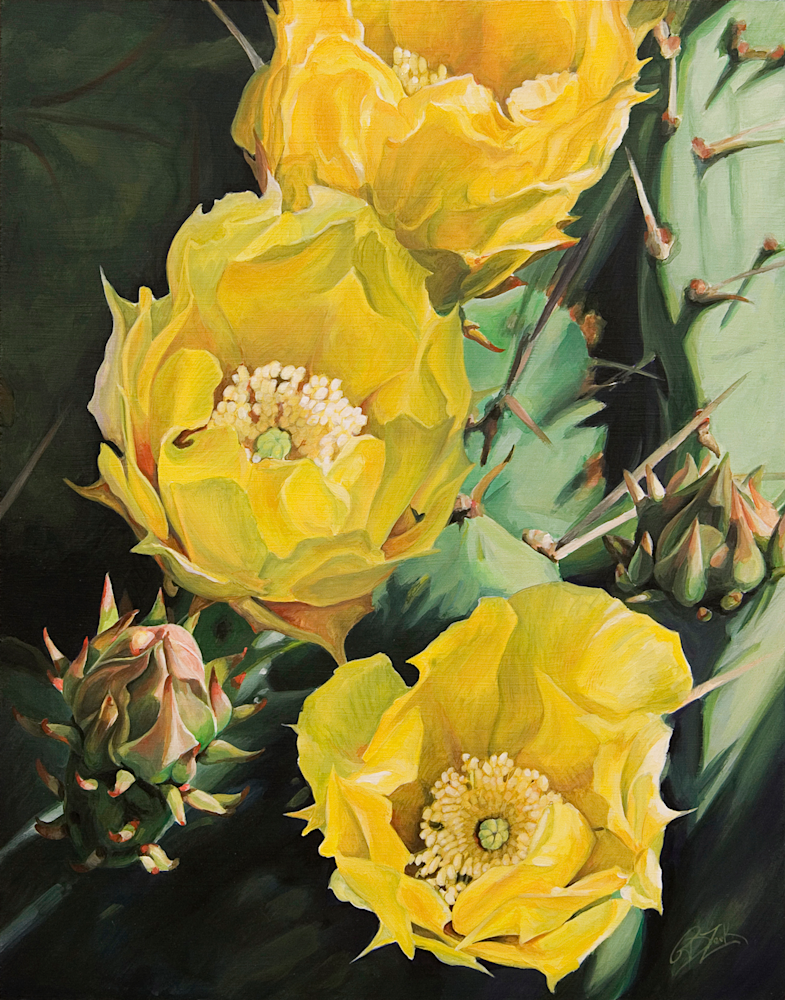 Prickly Pear Flower Trio Print