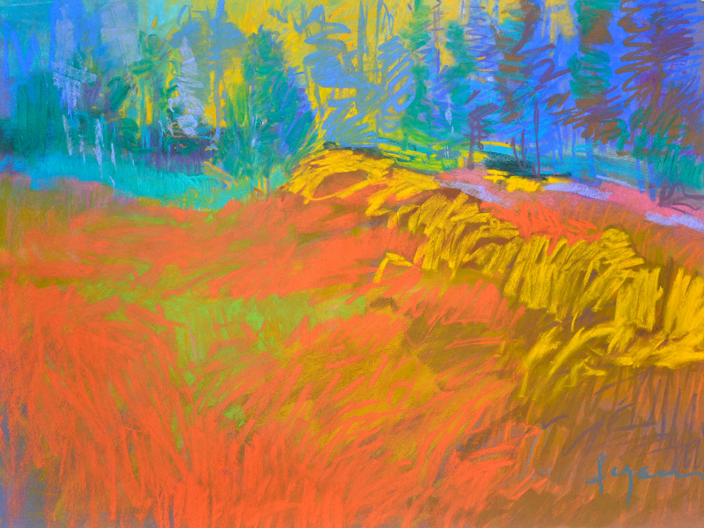 Orange Abstract Landscape Painting, Fine Art Print by Dorothy Fagan