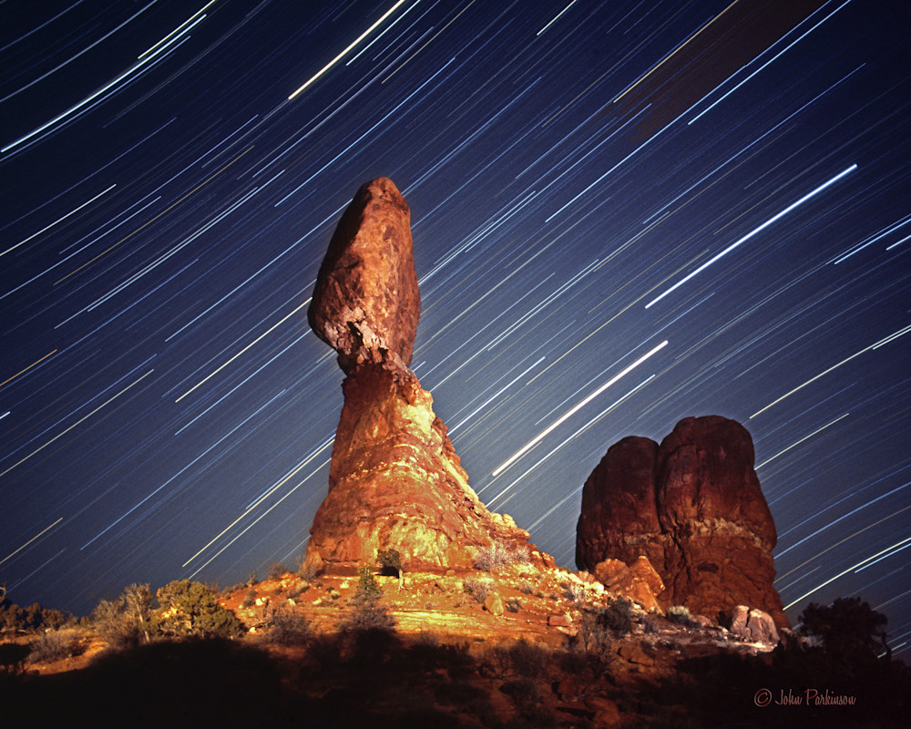 Balanced Rock in Arches National Park, Utah,  at night.