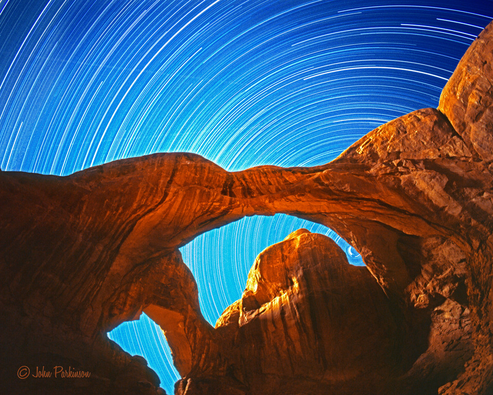 Double Arch In Arches National Park Utah Bathed In Moonlight