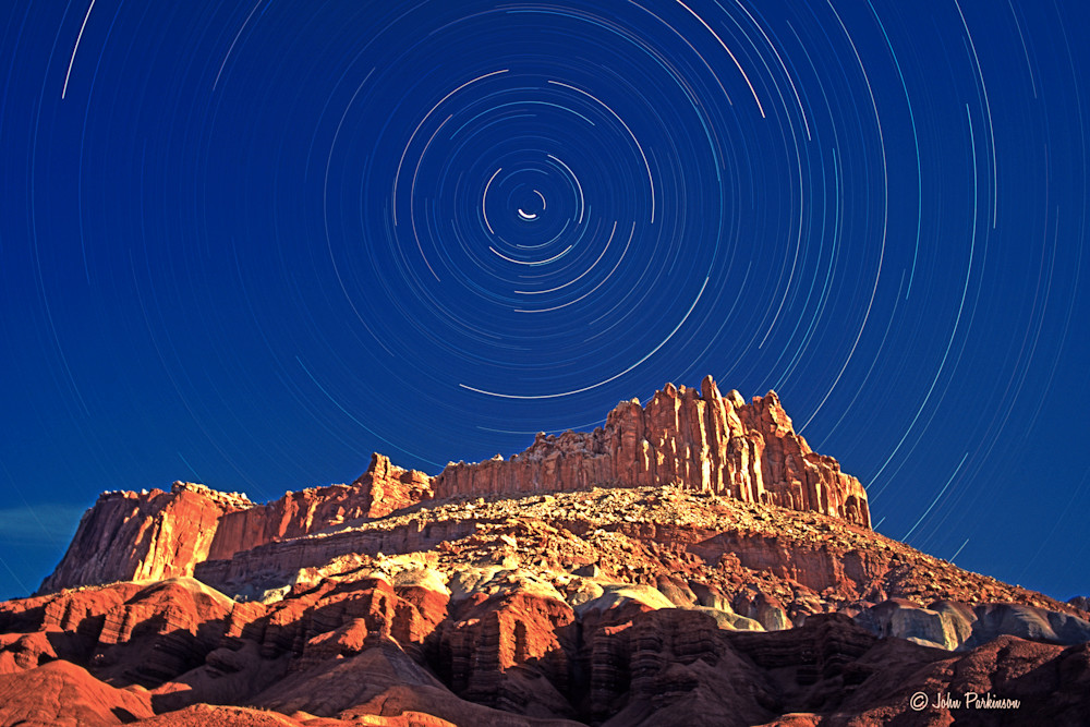 The Castle at Night in Capitol Reef National Park, Utah, with Star Trails
