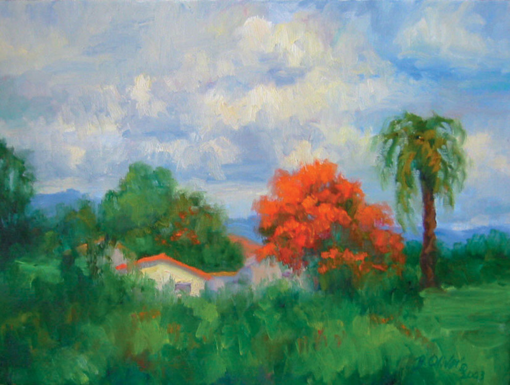 Acacias And Red Roofs Art   B. Oliver, Art