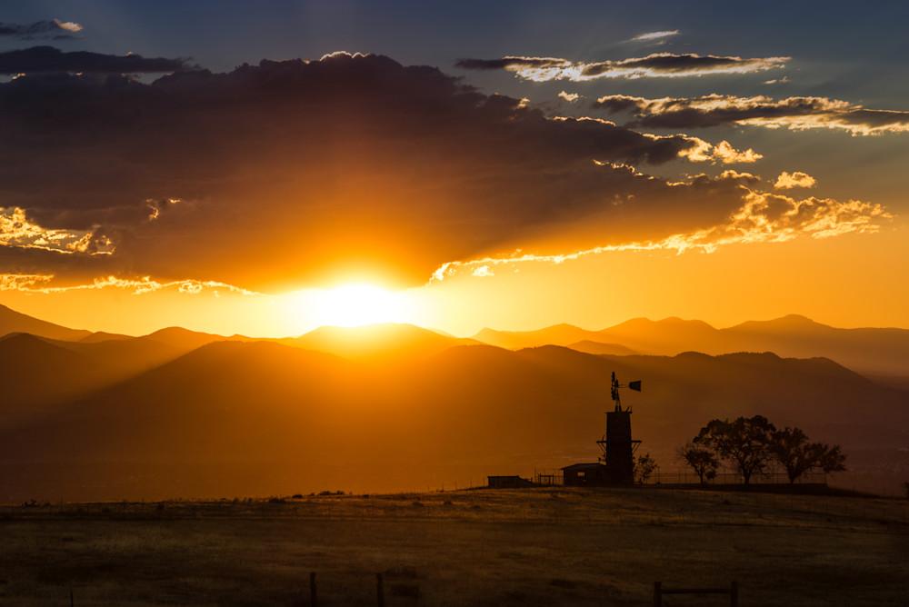 sunset colorado mountains windmill