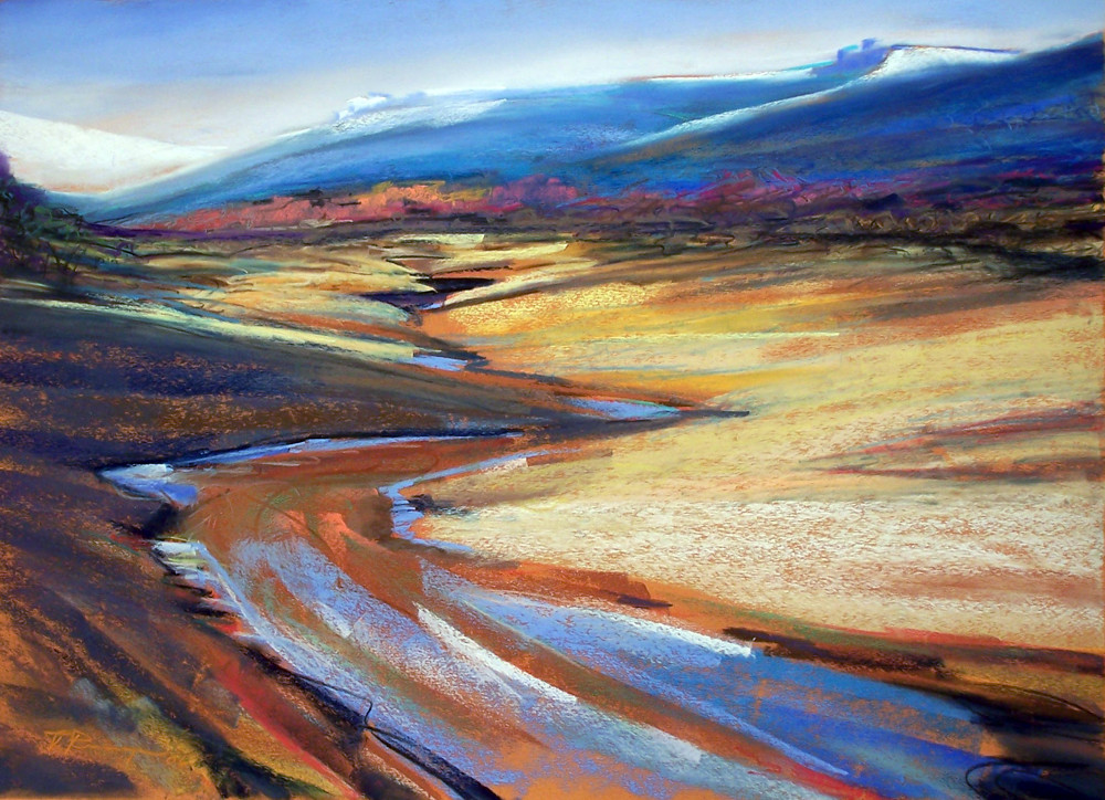 landscape painting columbia river gorge fall colors