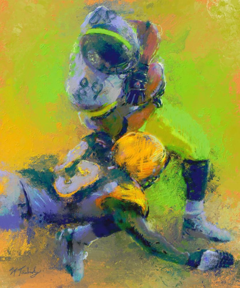 Pursuit & tackle Football painting | Sports artist Mark Trubisky | Custom Sports Art