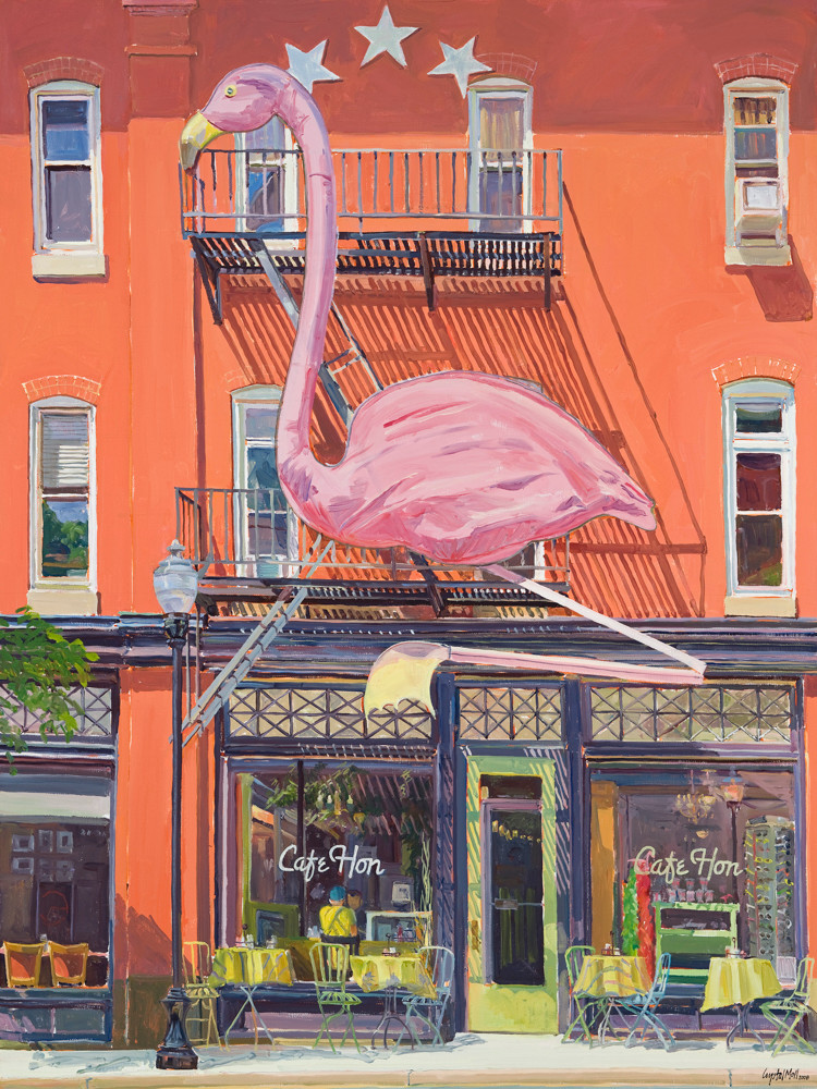 cafe hon, hampden, plein air painting, urban landscape, baltimore city