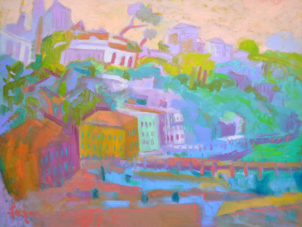 Colorful Sorrento Art Print Painting, Passage I by Dorothy Fagan