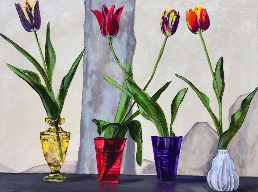 Tulips in Colorful Containers | Fine Art Painting Print by Rick Osborn