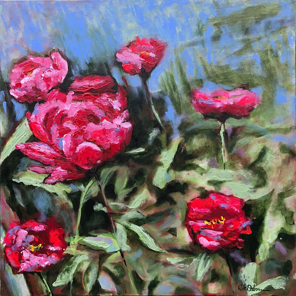 Reddish Pink Peonies | Fine Art Painting Print by Rick Osborn