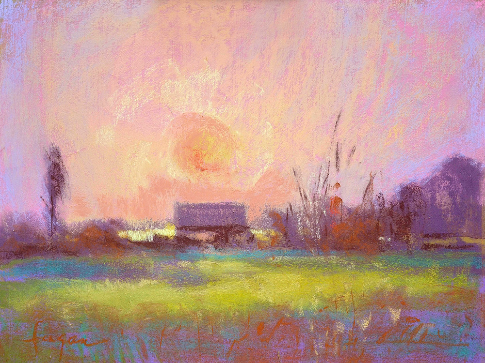 Serene Sunset Painting Art Print on Canvas, Twilight by Dorothy Fagan