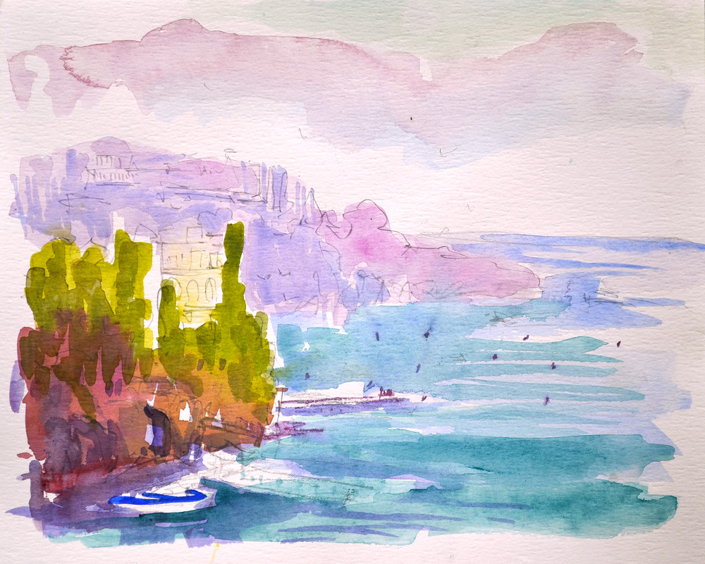 Amalfi Coast Art Print Painting, Castle by the Sea by Dorothy Fagan