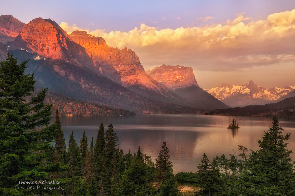 Wild Goose Island and Saint Mary Lake from Sunrise Point, Glacier National Park/large format Fine Art photography print media