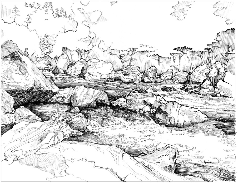 Chetco River Gorge Pen and Ink by Spencer Reynolds