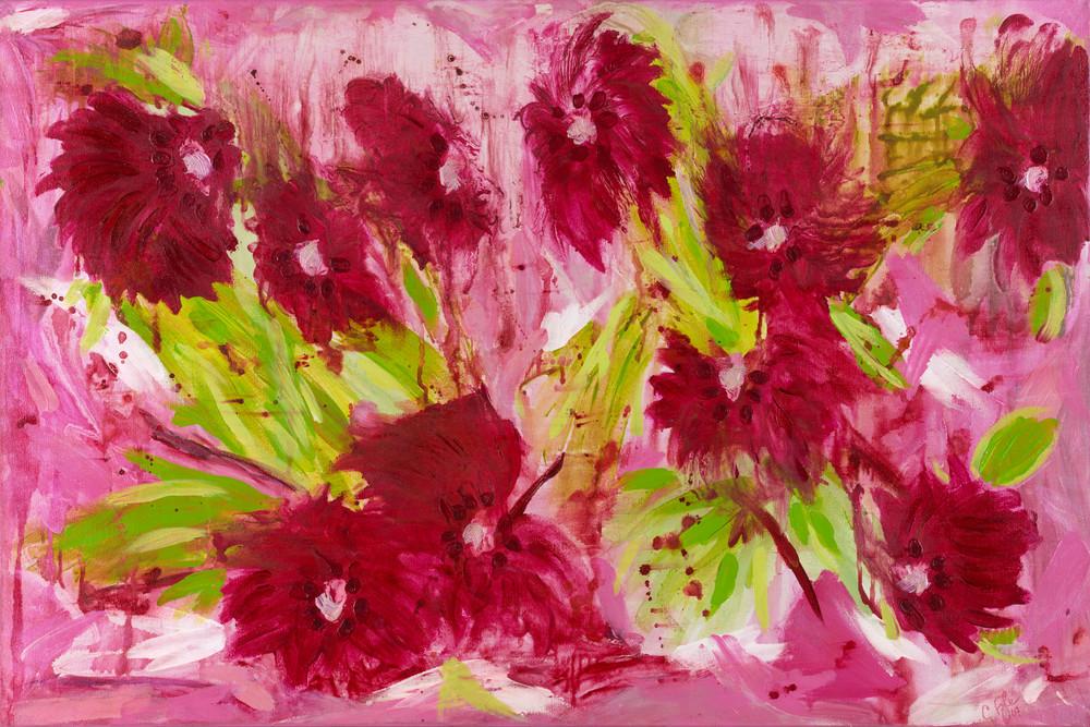 caroline pyle, abstract art Passionate Peonies