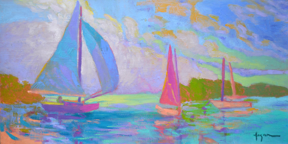 Abstract Sail Boat Art Print Painting on Canvas, West Wind by Dorothy Fagan