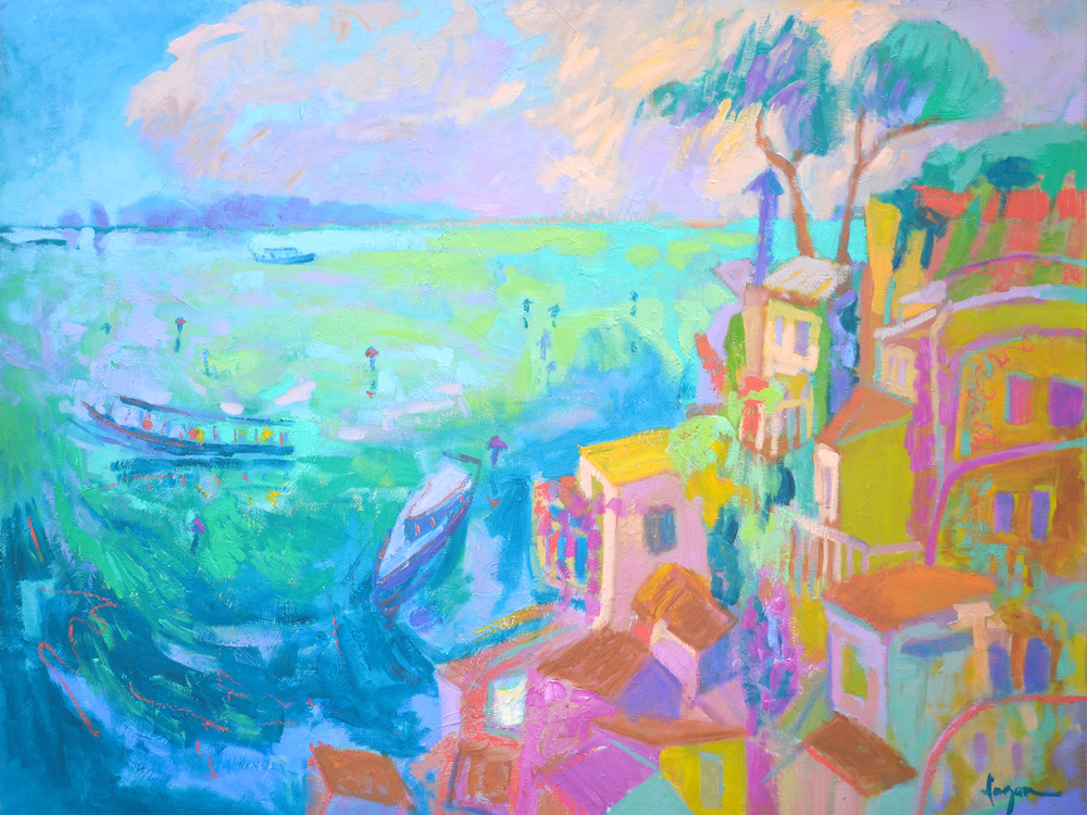 Stunning Amalfi Coast Panting Enchanted Art Print on Canvas by Dorothy Fagan