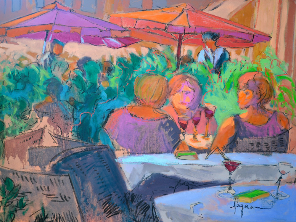 Italian Cafe Scene Painting Art Print on Canvas, Three Sisters by Dorothy Fagan