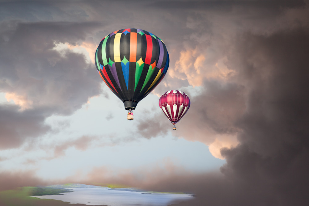 Reno Balloon Race, Photographs of Hot Air Balloons Soaring Into The Clouds.