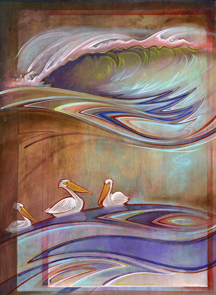 Three Pelicans Painting by Spencer Reynolds