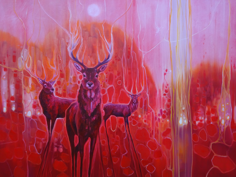Print Of Red Magic   A Red Painting With Red Deer At Dawn Art | Gill Bustamante Artist