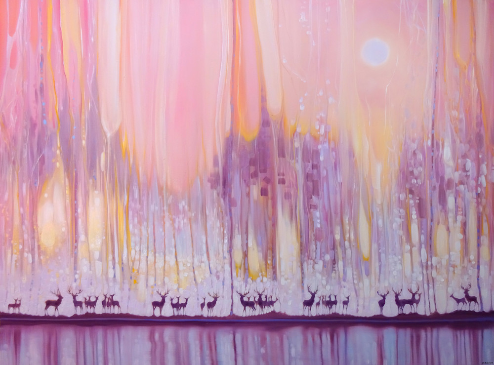 Print   Watchers In The Ice Forest   A Misty Landscape With Deer Art | Gill Bustamante Artist