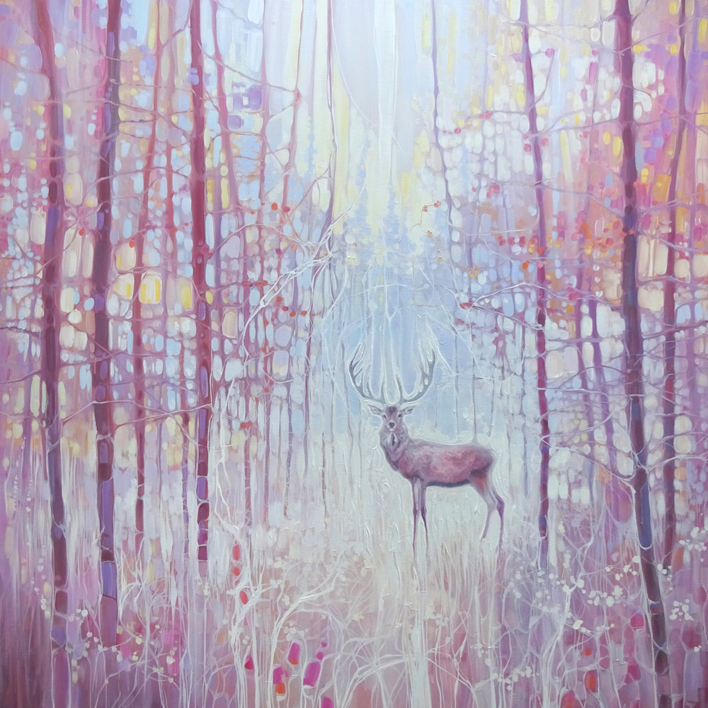 Print of A Red Deer In A Frosty Forest - Art Nouveau Style