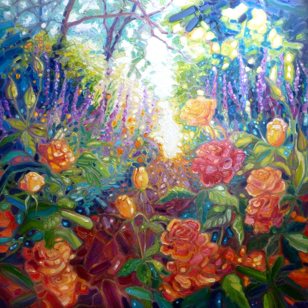 Print Of Mad English Summer Garden   Roses Art   Gill Bustamante Artist